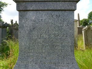 McWalter Inscription - Western Cemetery, Perth Road, Dundee