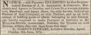 Dundee Courier, 9 June 1874 - Image©THE BRITISH LIBRARY BOARD. ALL RIGHTS RESERVED